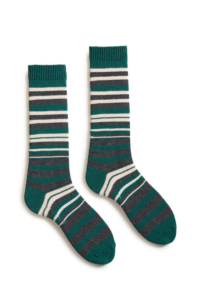 emerald green men's new stripe wool cashmere crew socks