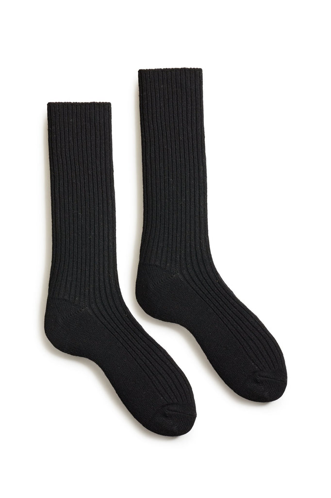 black men's solid ribbed wool cashmere crew socks