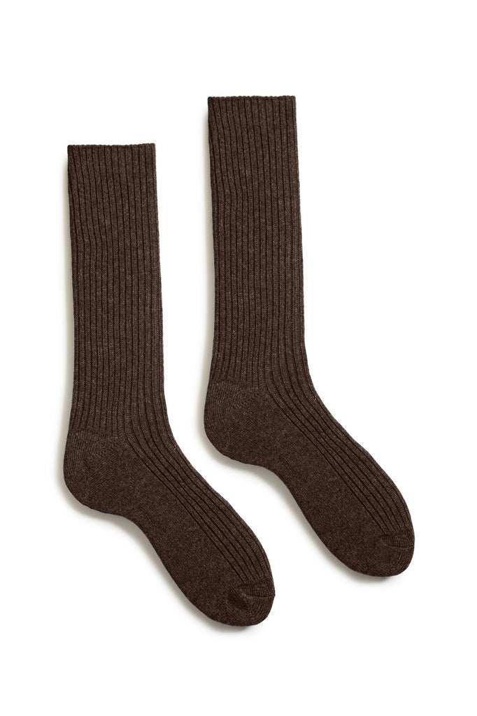 espresso men's solid ribbed wool cashmere crew socks