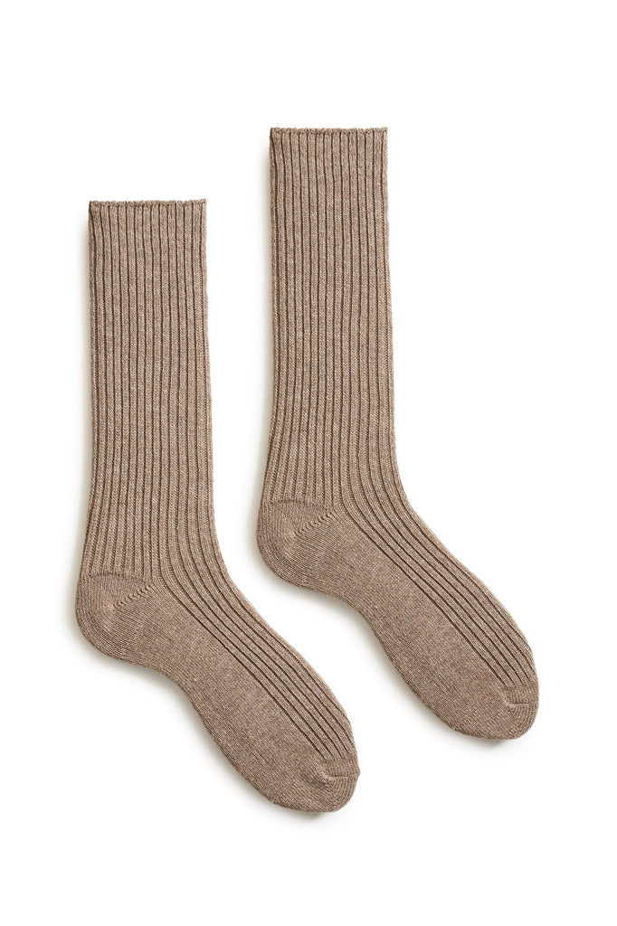mushroom men's solid ribbed wool cashmere crew socks