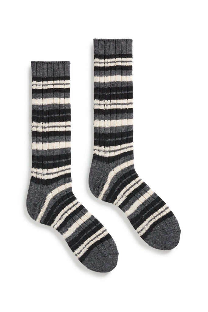 black men's striped rib wool cashmere crew socks