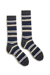 bright navy men's striped rib wool cashmere crew socks