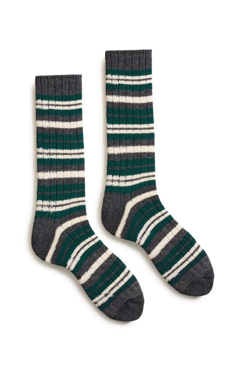 emerald men's striped rib wool cashmere crew socks