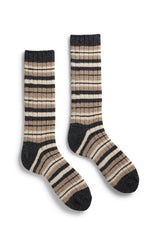 mushroom men's striped rib wool cashmere crew socks