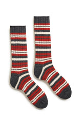 spice men's striped rib wool cashmere crew socks