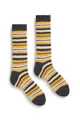 yellow men's striped rib wool cashmere crew socks