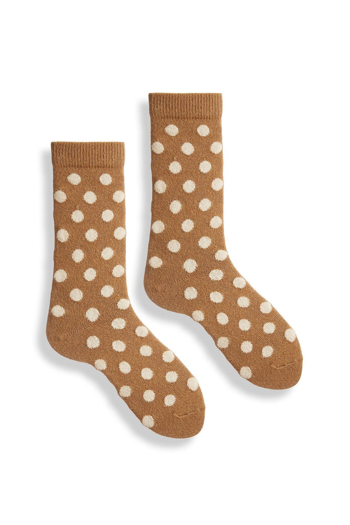 camel men's classic dot wool cashmere crew socks