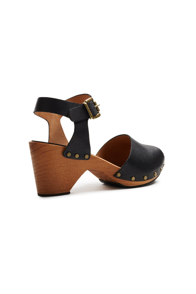 peep toe ankle strap leather clogs in black