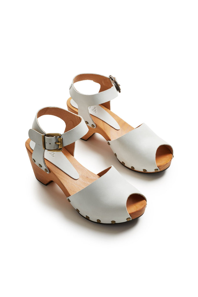 peep toe ankle strap leather clogs in chalk