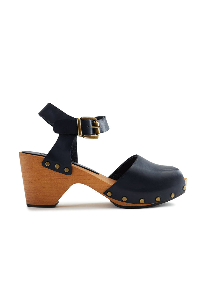 leather peep toe clogs in navy
