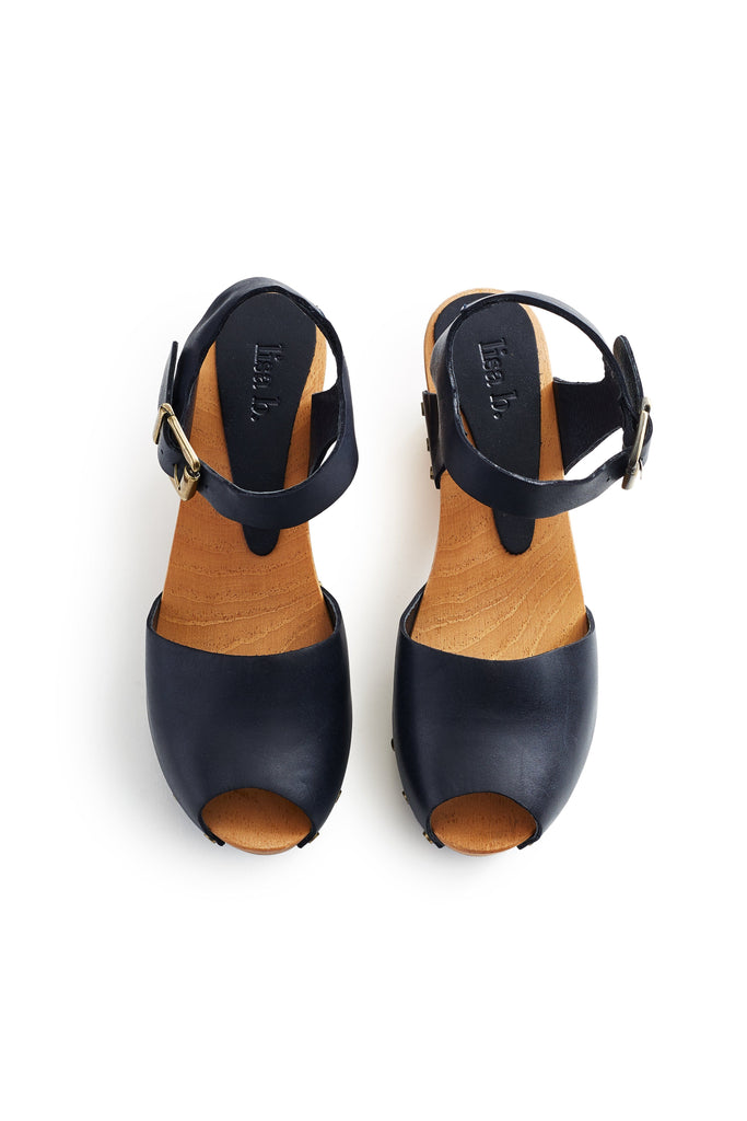 peep toe clogs in navy