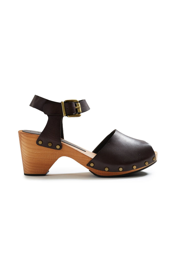 classic peep toe clogs in dark brown