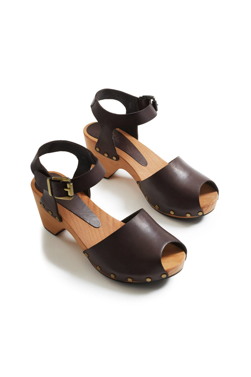 peep toe ankle strap leather clogs in dark brown