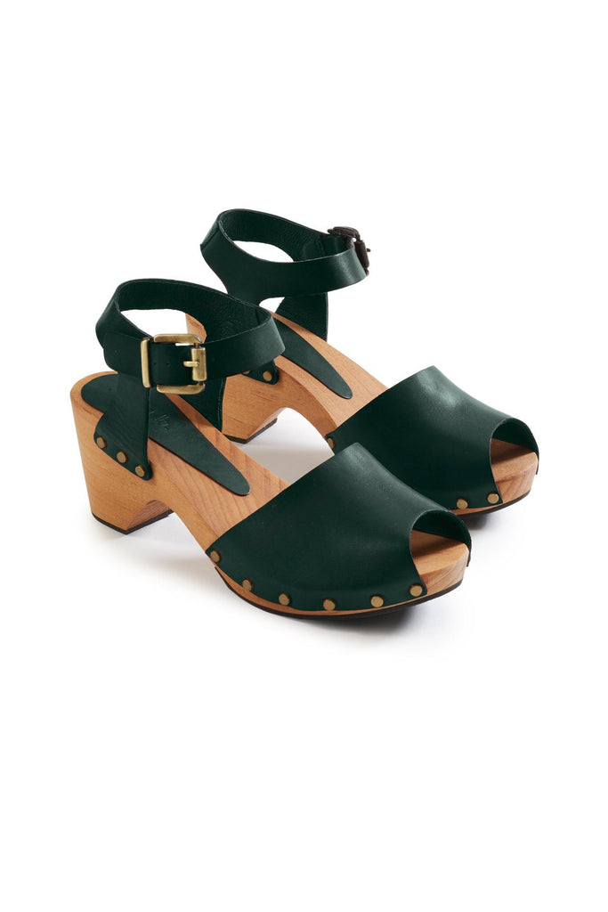 peep toe ankle strap leather clogs in ivy