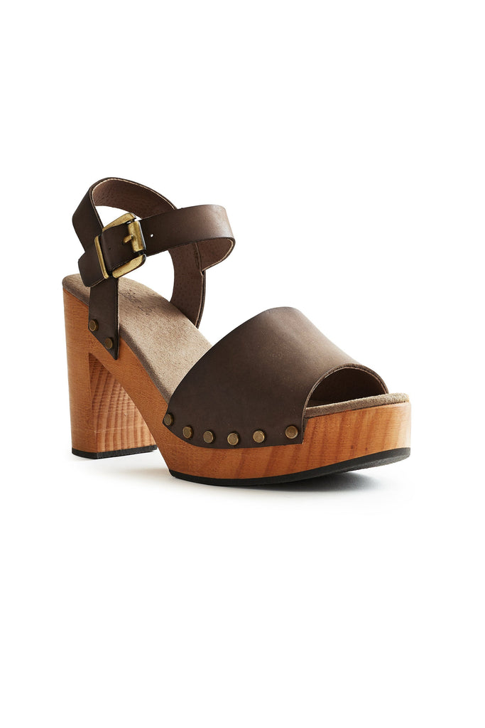 platform leather clogs in dark taupe