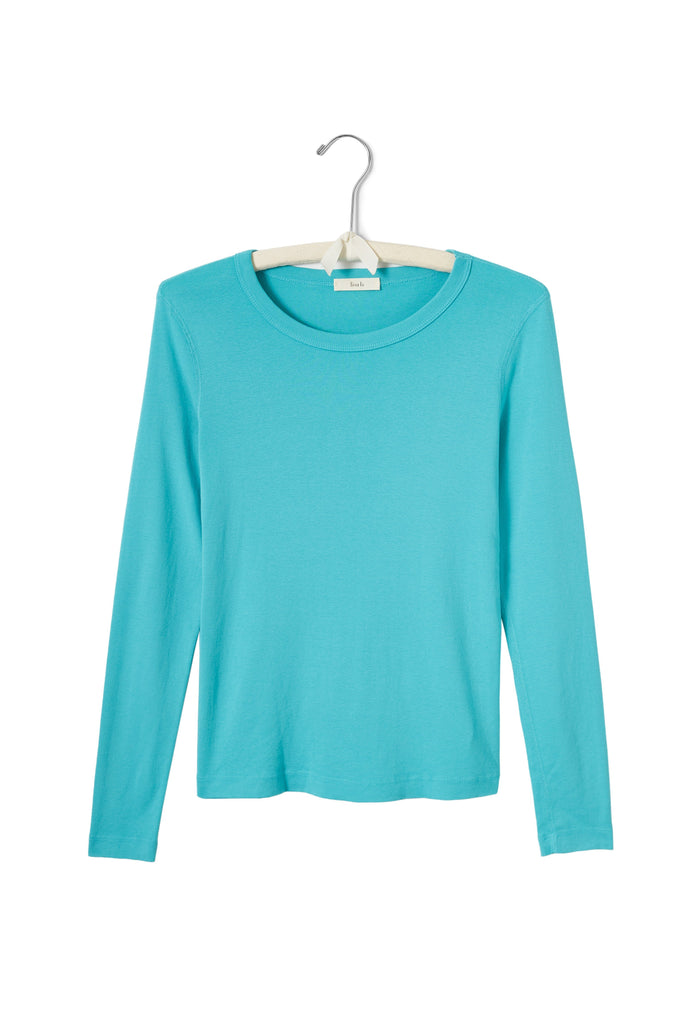 women's cotton long sleeve scoop neck t-shirt pool