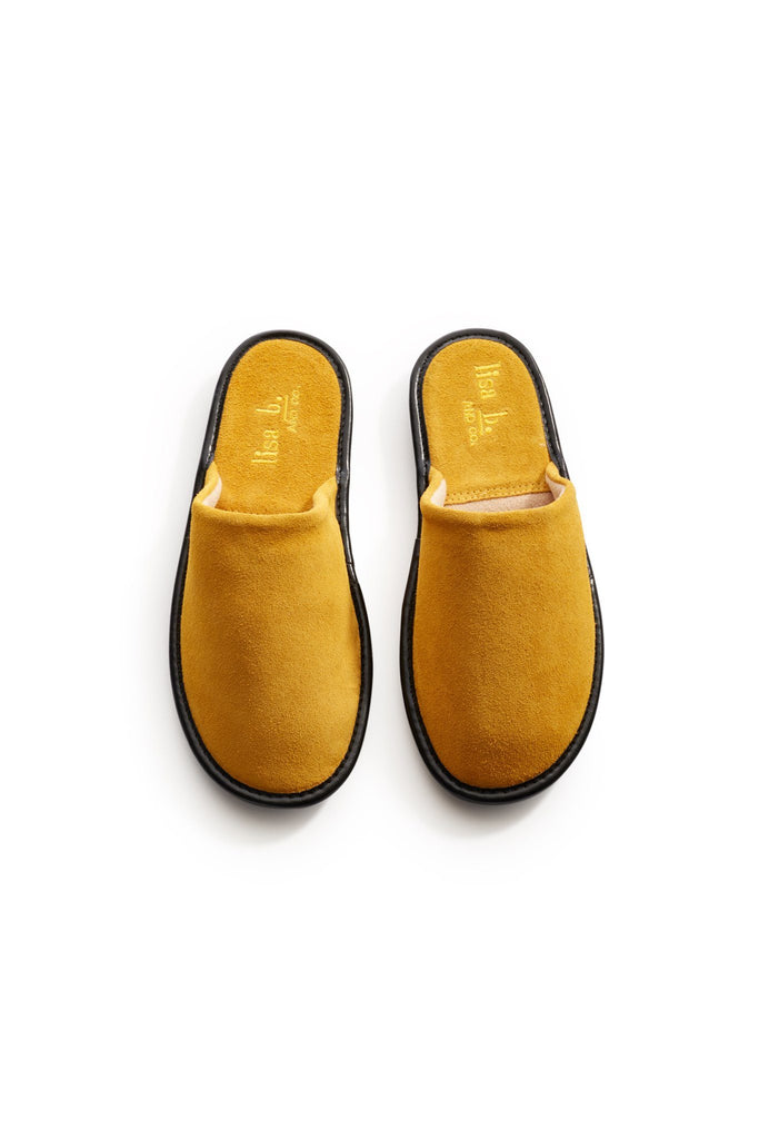 lisa b. men's marigold suede slippers
