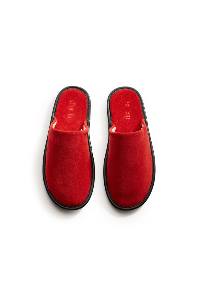 lisa b. men's red suede slippers