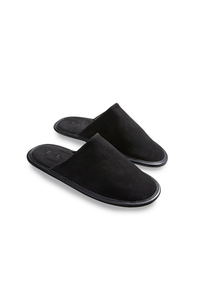 men's black suede slippers | lisa b.