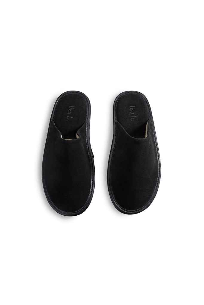 women's black suede slippers