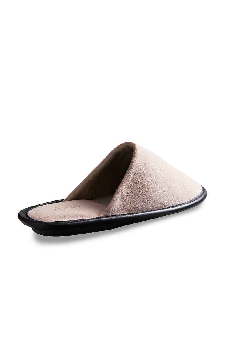 women's pink suede slippers