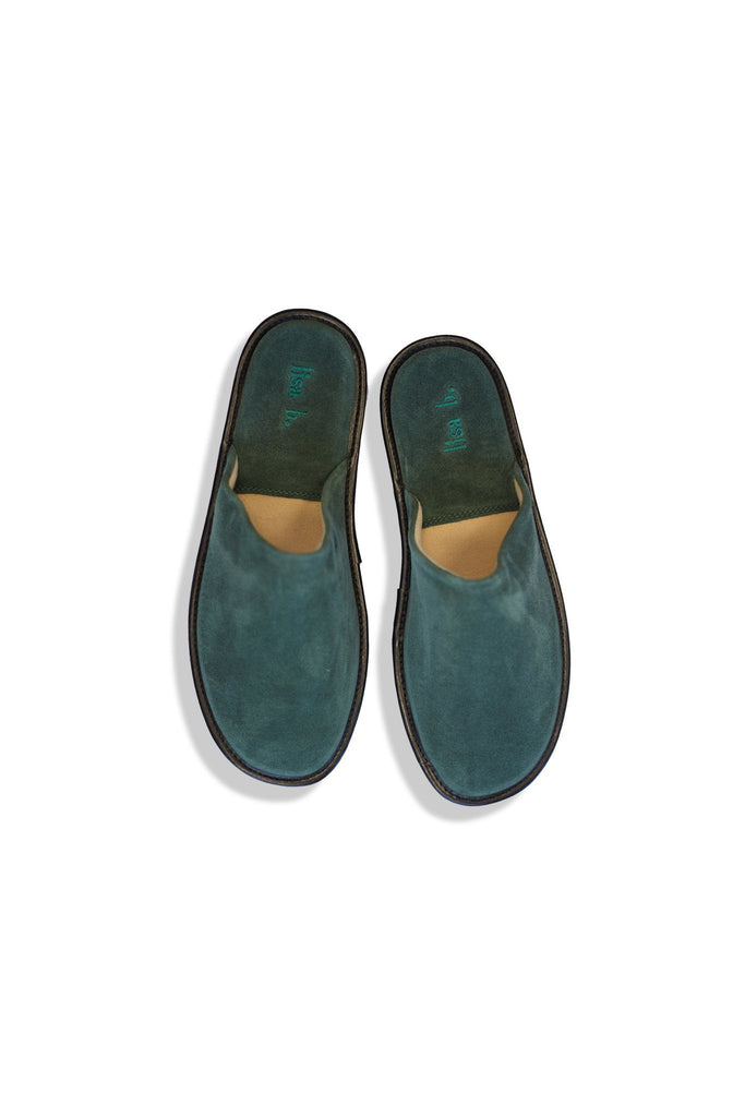 lisa b. men's bottle green suede slippers