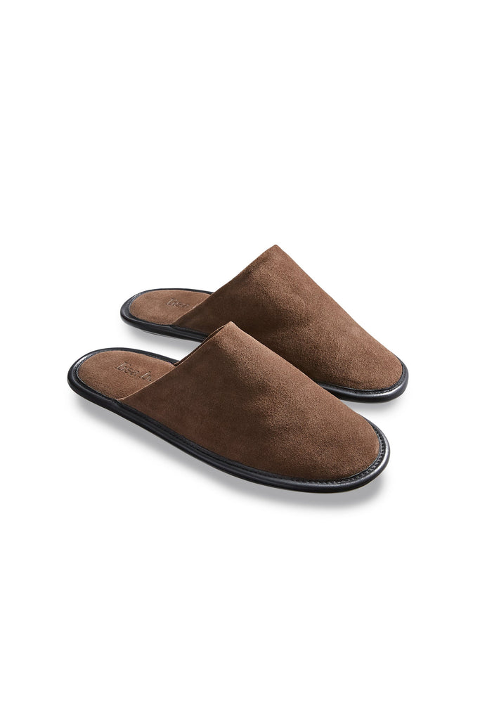 men's moka suede slippers | lisa b.