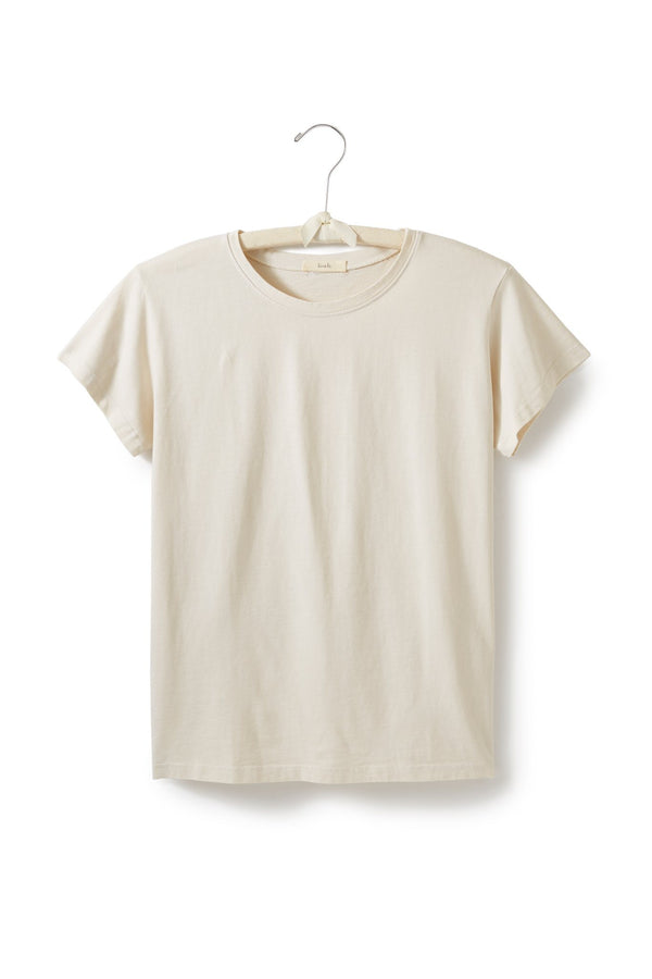 women's cotton crew neck t-shirt in creme