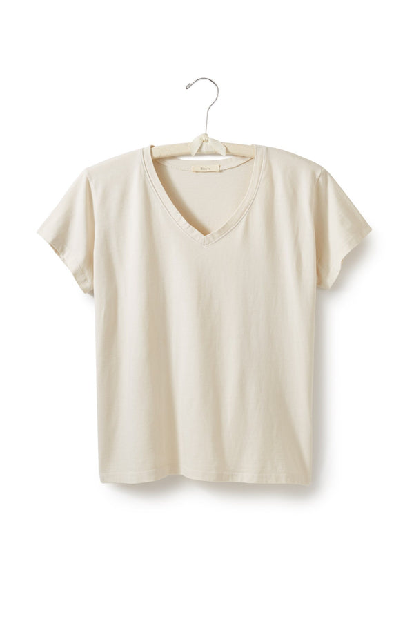 women's cotton v-neck t-shirt in creme