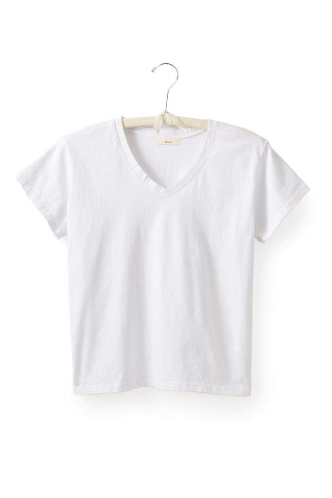 women's cotton v-neck t-shirt in white