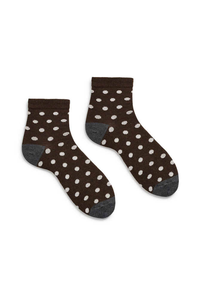 espresso dark brown women's dot cotton anklet socks