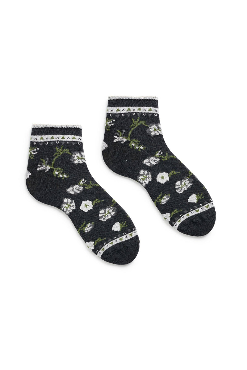 black women's floral cotton anklet socks