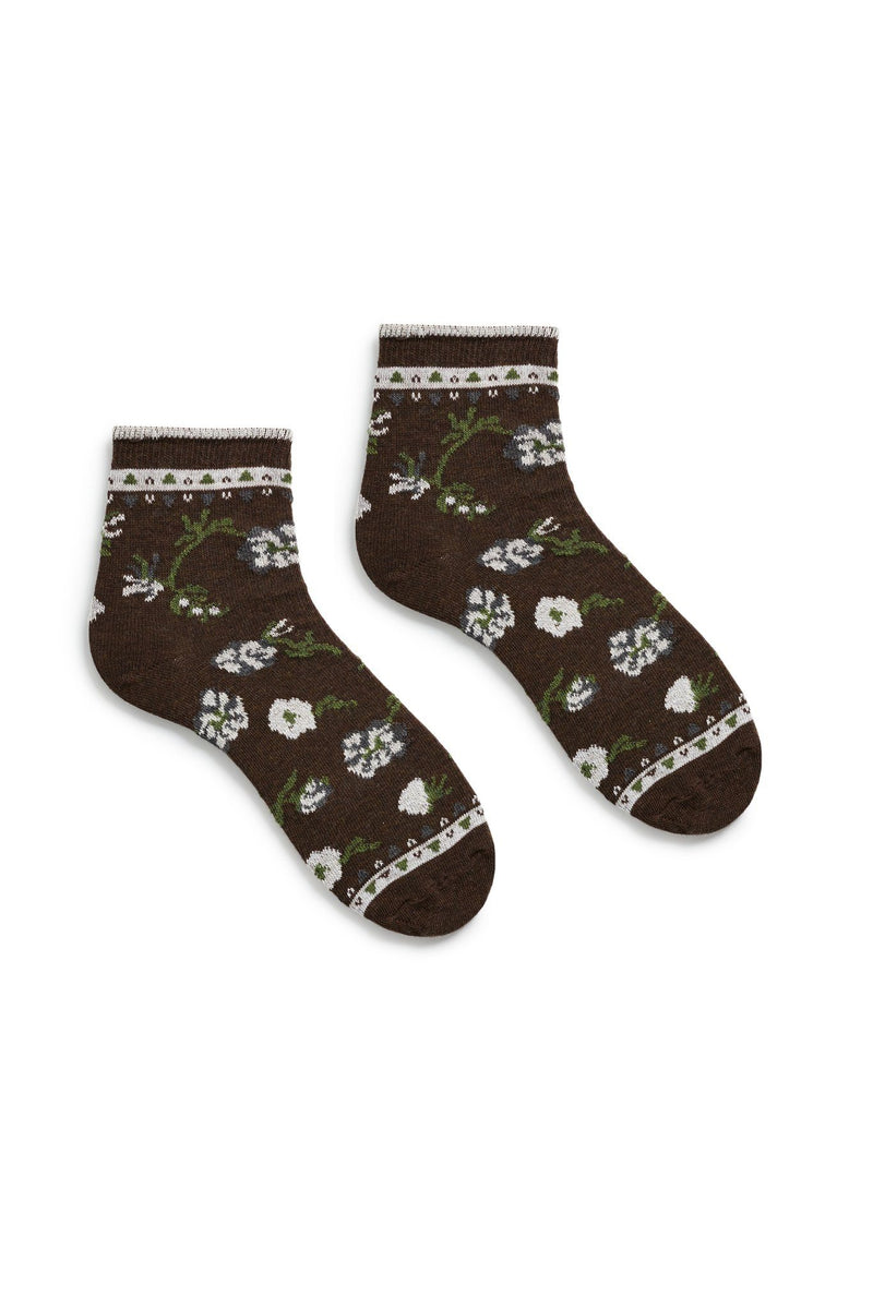 espresso dark brown women's floral cotton anklet socks