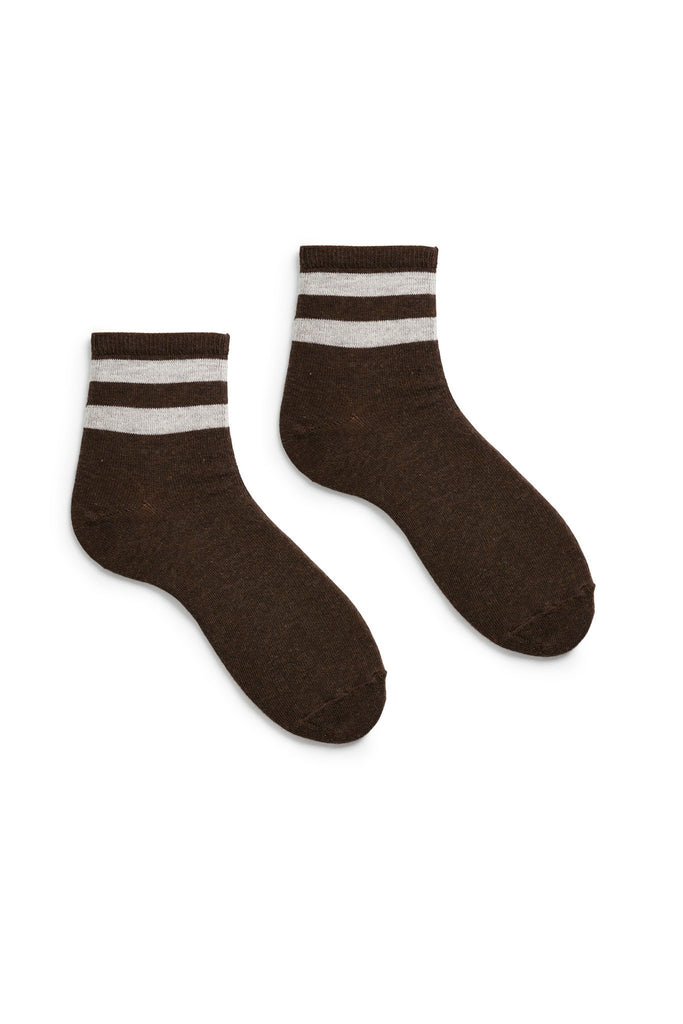 espresso dark brown women's stripe cotton anklet socks
