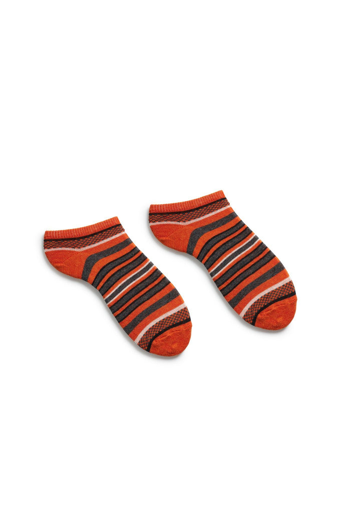 women's persimmon checks + stripes cotton shortie length socks