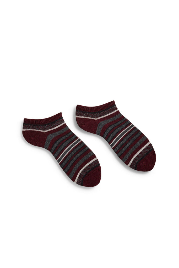 women's burgundy checks + stripes cotton shortie length socks