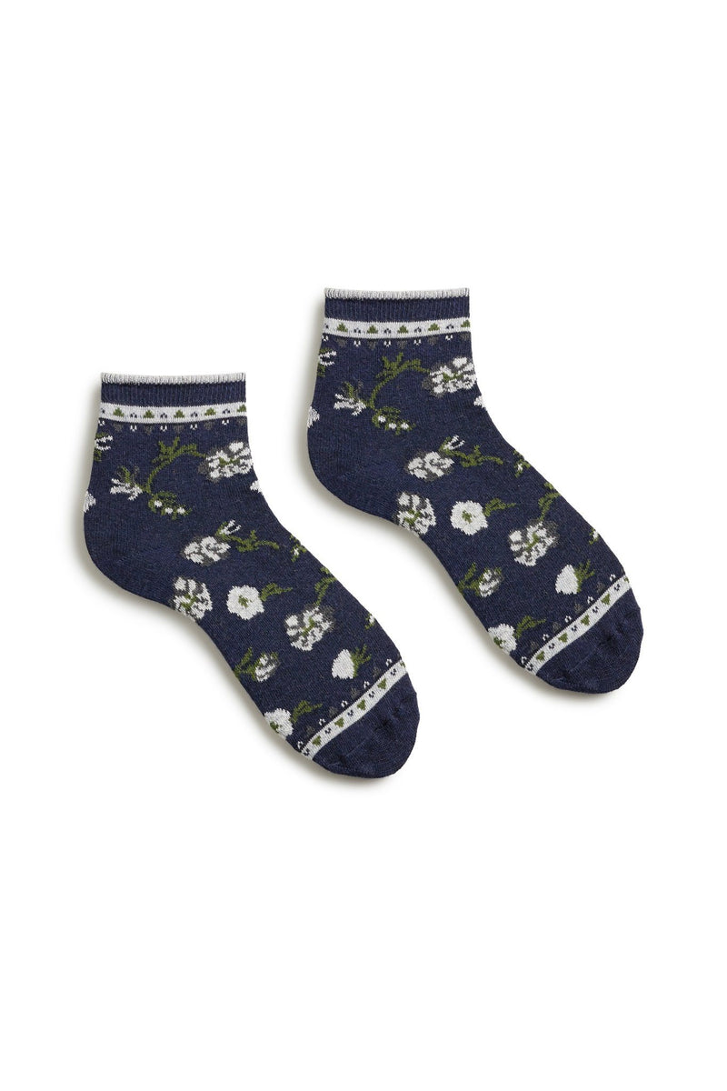 women's dark navy blue floral cotton anklet socks