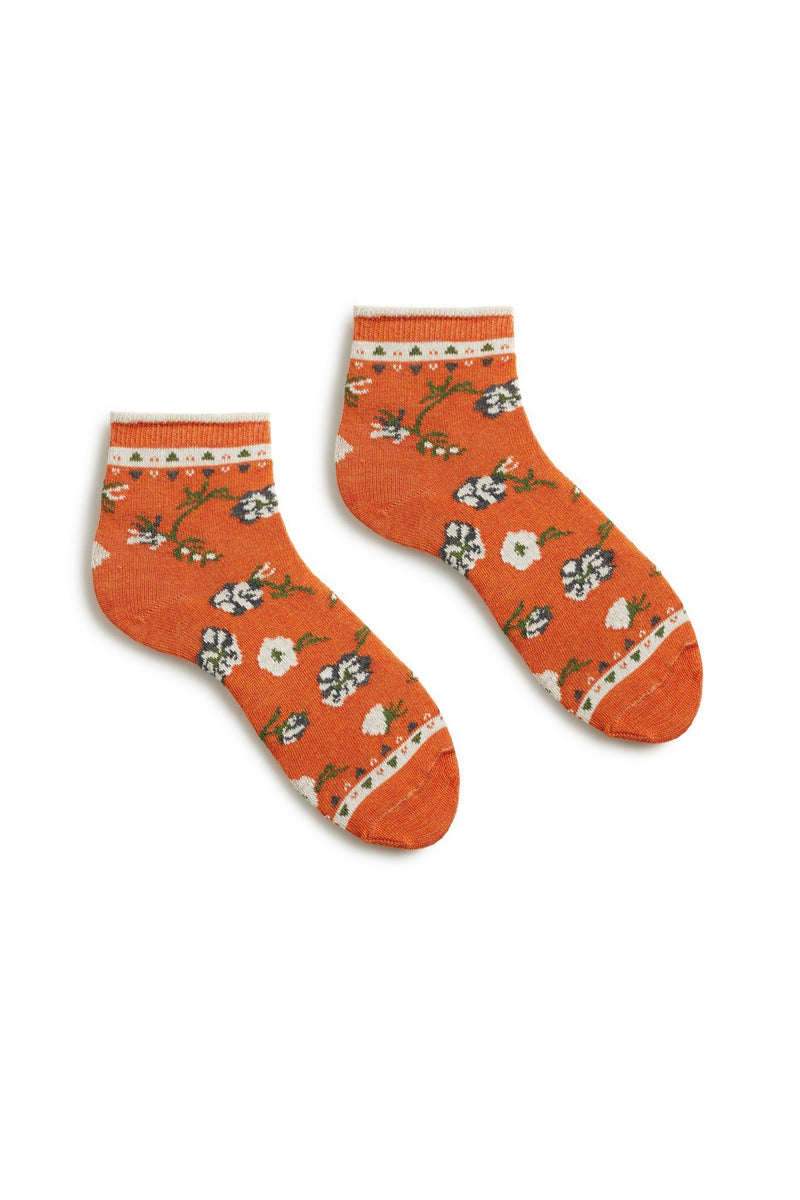 women's persimmon orange floral cotton anklet socks