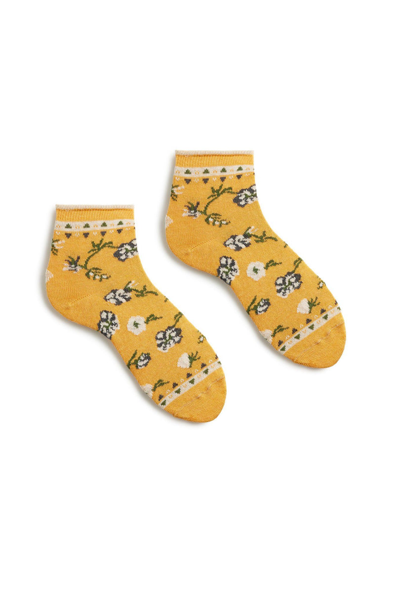 women's yellow floral cotton anklet socks