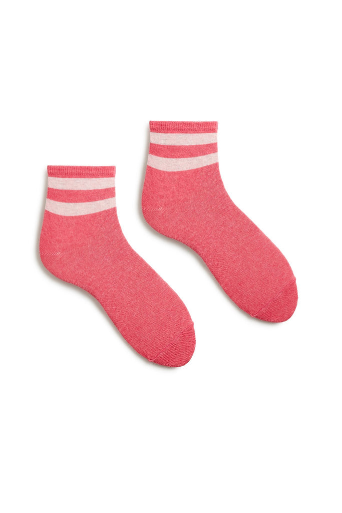women's azalea pink stripe cotton anklet socks