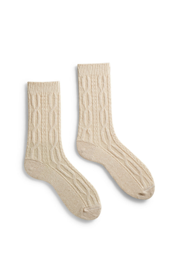 women's creme chunky cable wool cashmere crew length socks