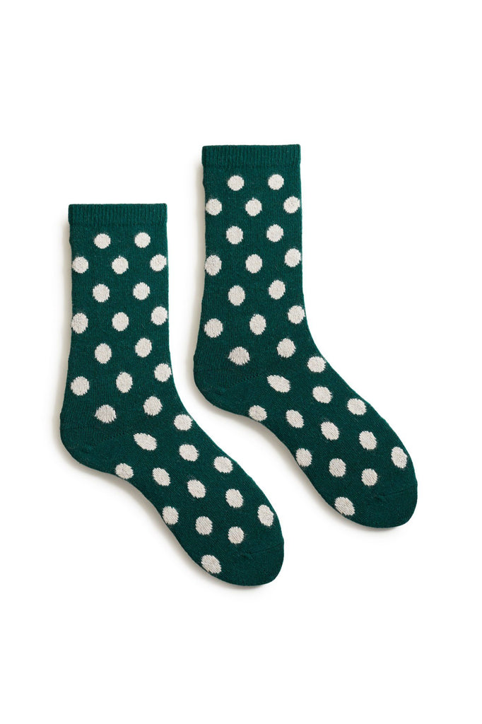 women's emerald classic dot wool and cashmere crew length socks