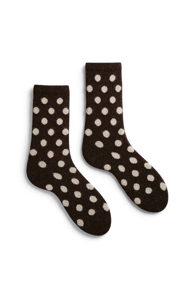women's espresso classic dot wool and cashmere crew length socks