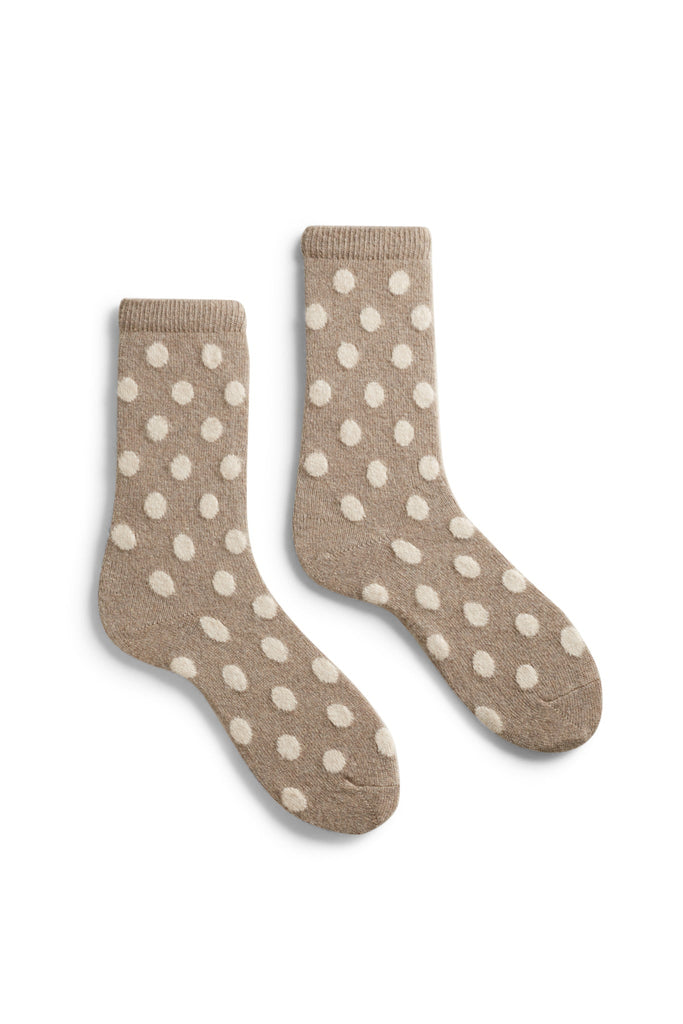 women's mushroom classic dot wool and cashmere crew length socks