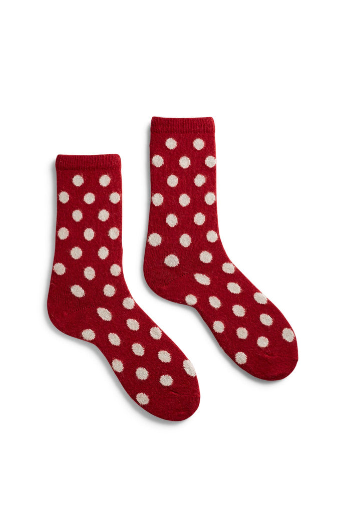 women's red classic dot wool and cashmere crew length socks