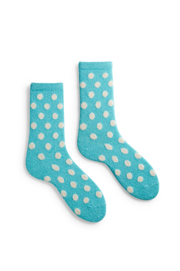 women's arctic blue turquoise classic dot wool cashmere crew socks