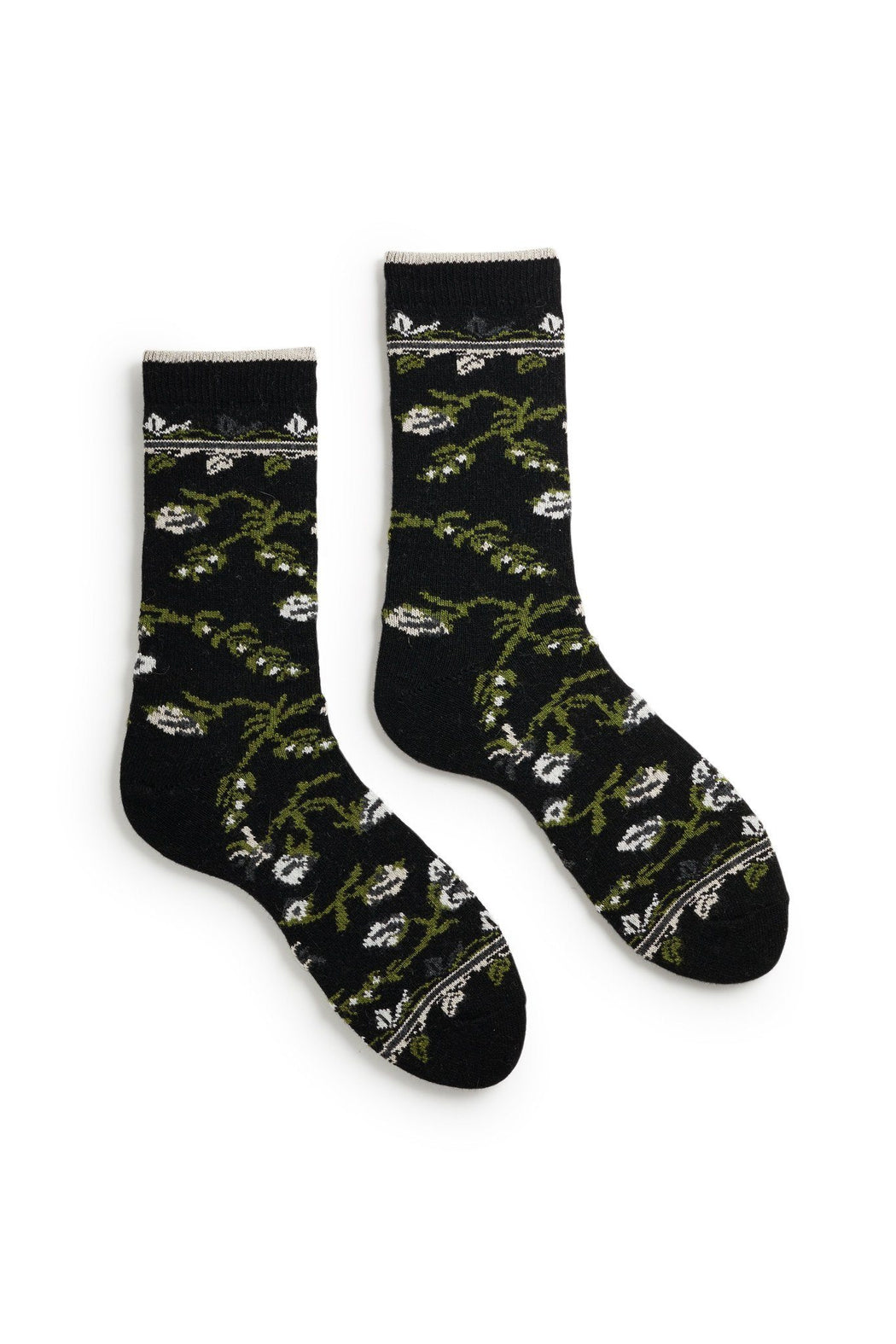 women's black floral wool and cashmere crew length socks