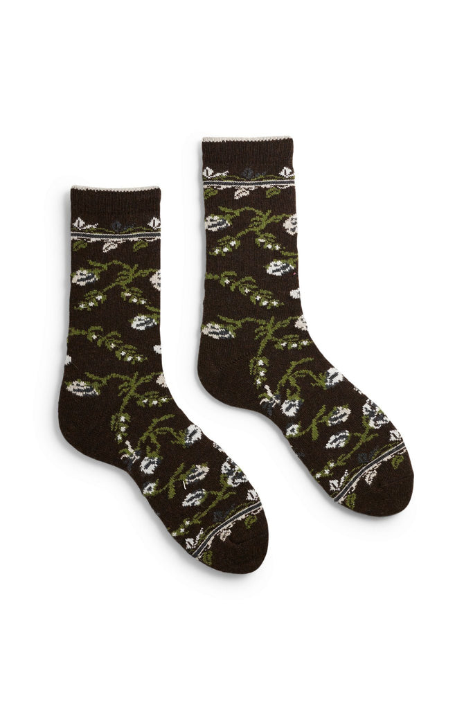 women's espresso floral wool and cashmere crew length socks