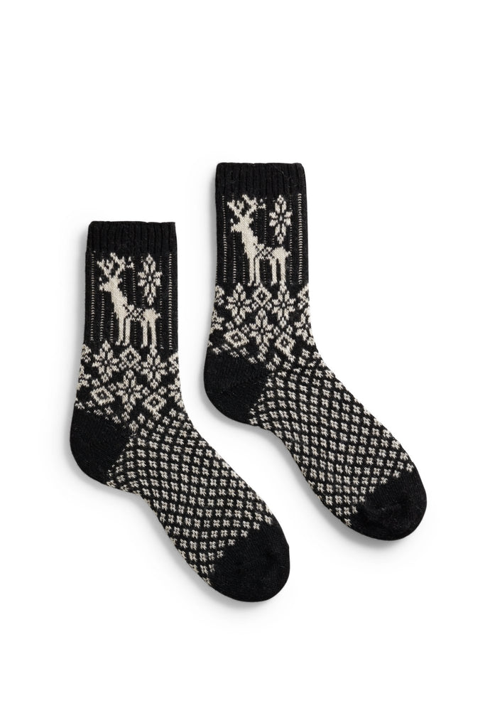 women's black reindeer wool cashmere crew length socks
