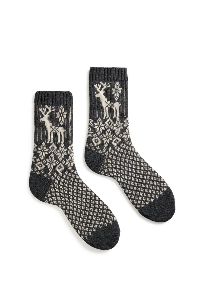 women's charcoal reindeer wool + cashmere crew length socks